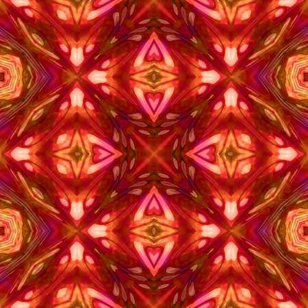 60539455 - abstract pink brown orange kaleidoscopic geometric floral starry seamless pattern in secession (art deco) style - digitally rendered tile able background
